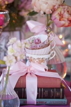 Tea cups and books