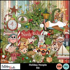 Holiday Hoopla is a digital scrapbooking kit about wonderment, joy, and the magic of believing. Filled with merriment and mirth, it provides all that you need to create delightful scrapbook pages or Christmas projects. Delightful elves, cookies and milk for Santa, presents, trees and lights, pines and berries, everything about this collection is holly, jolly, and merry! Holiday Hoopla is a collaboration between Snickerdoodle Designs and retired designer Kimberkatt Scraps.
