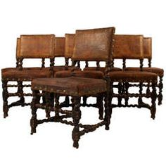 Set of 8 Leather Dining Chairs
