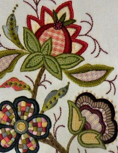 Jacobean embroidery design worked in a modern style.