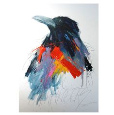 """Originals and prints from Wyoming artist Sarah Rogers. Many of Sarah's subjects - wolves, bears, crows, horses - are familiar to her rural Wyoming neighbors; but the vibrant colors spring entirely from her imagination. The result has been described as """"tr Crow Art, Chalk Drawings, Fabric Birds, Doodle Sketch, Watercolor Bird, Adult Coloring, Portrait, Graffiti, Vibrant Colors"""