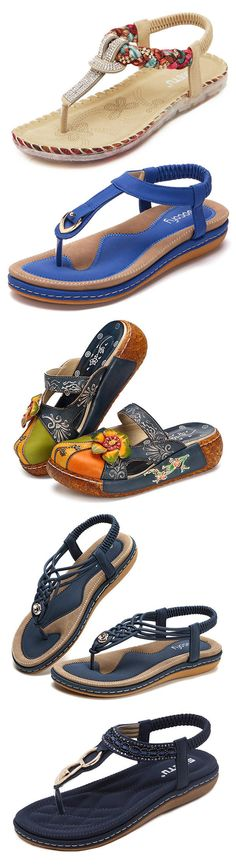 Comfortable Shoes Elastic Clip Toe Flat Beach Sandals. #outfits