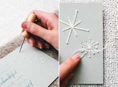 DIY stationary with needle and thread Bildpoeten Hobbies And Crafts, Diy And Crafts, Paper Crafts, Christmas Cards 2017, Christmas Crafts, Christmas Postcards, Christmas Holidays, Christmas Ideas, Paper Embroidery