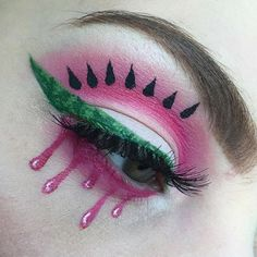 """a juicy dripping watermelon was the inspiration for today 🍉 products: green, red and white paradise paints, """"Radioactive"""" eyeshadow, """"Tako"""" eyeshadow and """"Black Envy"""" liquid liner Intense Eye Makeup, Makeup Eye Looks, Creative Makeup Looks, Makeup Tips Eyeshadow, Mehron Makeup, White Eyeshadow, Makeup Themes, Makeup Art, Watermelon Face"""
