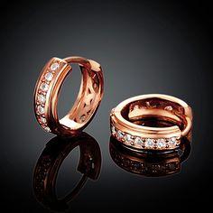 Arlumi 18k Rose Gold plated Clear Crystal Cubic Zircon Circle Stud Earrings E041-B