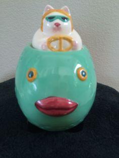 Cookie Jar- Cat riding a fish