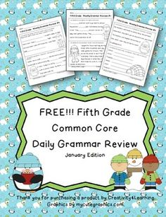 FREE Fifth Grade Common Core Daily Grammar Review - Januar