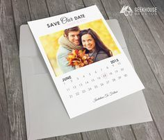Save the Date Calendar Announcement #SavetheDate #WeddingAnnouncement #STD #Calendar #Modern #Digital #Graphic #Design #Card