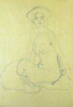 Sitzender Frauenakt 1907, Gustav Klimt.