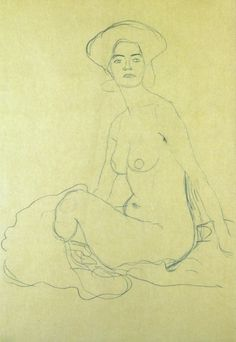 Sitzender Frauenakt 1907, Gustav Klimt.                              …