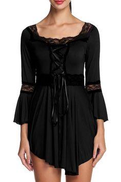 ANGVNS Women's Square Neck Victorian Gothic Renaissance Corset Black Top