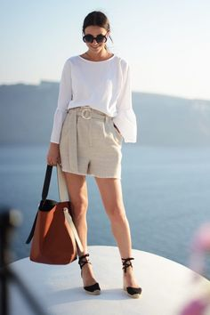 @roressclothes closet ideas #women fashion outfit #clothing style apparel Loose White Top and Rice White Shorts via