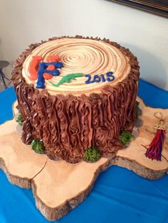 Tree stump cake I made for J's UF Grad party. Ag/Forestry degree. Go Gators!!!!