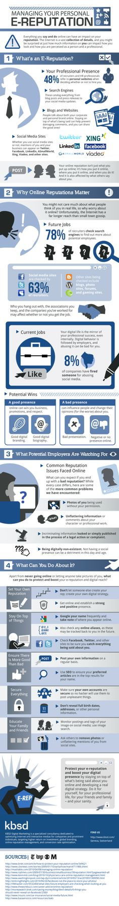 Managing your personal e-reputation. #infographic