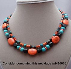 Necklace earrings of turquoise in turquoise black orange