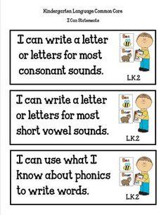 New writing goals: I write consonant sounds that I hear. I write vowel sounds that I hear. Kindergarten Assessment, Kindergarten Teachers, New Teachers, Teaching Kindergarten, Elementary Teacher, Curriculum Planning, Core Curriculum, Folder Labels, File Folder