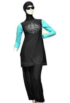 Black Turquoise Sleeves Floral Silver Dots Women 2-pcs Islamic Modest Swimwear