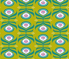 Peacock Mustard Green fabric by zesti on Spoonflower - custom fabric