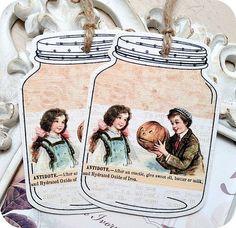 NEW  Vintage Halloween Kids Mason Jar Tags by LittlePaperFarmhouse, $5.95