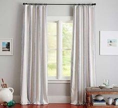 sewing curtain Curtains are a must for dressing windows. - Hanging curtains is easy with our tips and tricks. Our instructions make a quick job of measuring and installing these simple yet stunning window treatments. No Sew Curtains, Cheap Curtains, Striped Curtains, Drop Cloth Curtains, Rod Pocket Curtains, White Curtains, Hanging Curtains, Panel Curtains, Striped Linen