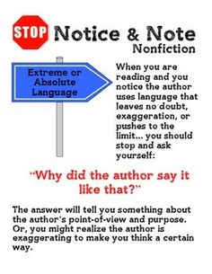 Notice and Note NONFICTION Signpost Anchor Charts. This PDF file contains anchor charts for all five NONFICTION Notice and Note signposts, taken from the book Reading Nonfiction: Notice & Note: Stances, Signposts, and Strategies, by Beers and Probst.   Contrasts and Contradictions Extreme or Absolute Language Word Gaps Numbers and Stats Quoted Words