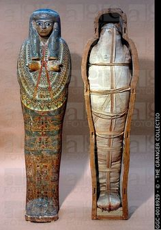 EGYPT: MUMMY, 2nd CENT. B.C.Mummy of priestess within original coffin of wood. 21st Dynasty, Egypt, c1985-935 B.C.