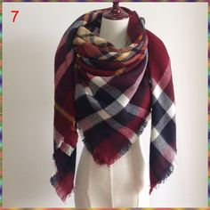 Za Winter Autumn scarf Knit oversize blanket tartan plaid stole Designer Women Bandana Acrylic scarf shawl 140x140cm wrap Autumn
