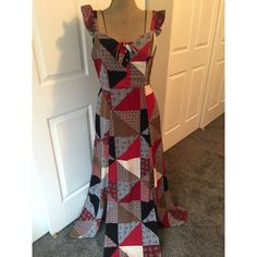 ModCloth patchwork maxi dress Flowy patchwork dress with two slits on front sides and tie front. ModCloth Dresses Maxi