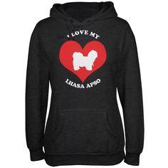 Valentines I Love My Lhasa Apso Heather Juniors Soft Hoodie