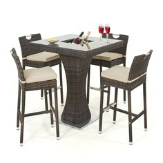 maze rattan 4 seat garden bar set with ice bucket - Rattan Garden Furniture 4 Seater