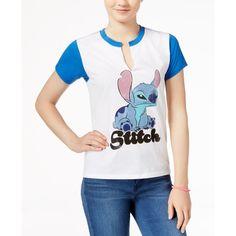 Disney Stitch Graphic T-Shirt ($9.99) ❤ liked on Polyvore featuring tops, t-shirts, disney tops, graphic tops, white top, disney tee and graphic t shirts