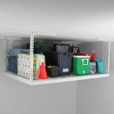 Shop MonsterRax 4' x 6' Overhead Garage Storage Rack - Overstock - 11098657 Overhead Storage Rack, Garage Storage Racks, Diy Storage, Storage Shelves, Garage Storage Inspiration, Small Closets, Space Saving Storage, Garage Design, Shop
