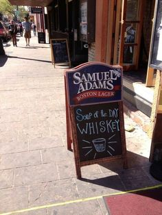 Love this sign! Soup of the Day: Whiskey. Obviously, the soup would be best using Prichard's Samuel Adams Boston Lager, Whiskey, Cool Pictures, Soup, Good Things, Day, Originals, Poster, Whisky