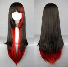 70cm X Long Charm Lolita Red Black Mixed Straight Anime Cosplay wig on Wanelo