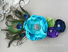 Peacock Inspired Maternity Sash Belly Band Photo Prop