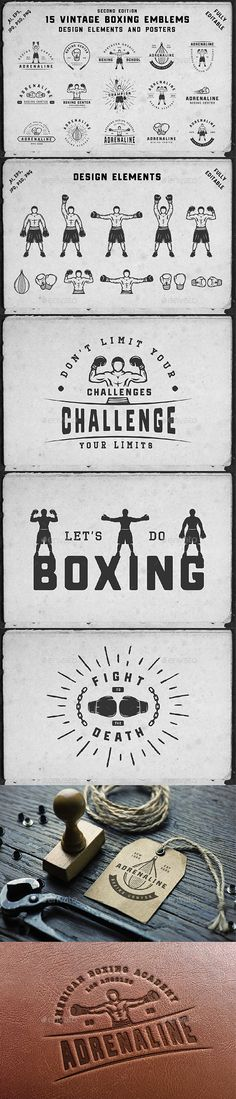 15 Boxing Emblems Set of vintage boxing logos, badges, emblems and design elements Can be used for logo design, badge design, emblems, sport, shop sign and much more.  You get:  15 boxing emblems 13 design elements 3 posters Product features: All files are in AI, EPS, PSD, PNG and JPG formats. 100% Vectors / Fully scalable / Fully editable; Text 100% editable and can be easely removed. Fonts and mock-ups are not included. List of used fonts:  Hochstadt Barley OctinSportsRg-Regular
