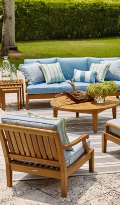 A grand scale and teak hardwoods make our Cassara Seating Collection the perfect destination at the end of the day. Each piece is handcrafted from plantation-grown teak that has been kiln dried to eliminate expansion and shrinkage.   Frontgate: Live Beautifully Outdoors