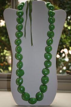 Kukui Nut Light Green Long Neckalce by anafili on Etsy, $12.00
