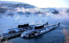 a couple of Soviet Oscar submarines