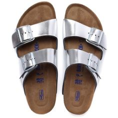 Birkenstock Women's Arizona Narrow Fit Leather Sandals Silver ($97) ❤ liked on Polyvore featuring shoes, sandals, leather sandals, birkenstock, narrow fitting shoes, leather footwear and real leather shoes