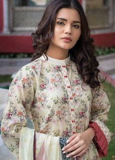 Buy Malhar Lawn Printed Bamboo Summer 2019 Collection Printed Lawn Unstitched 3 Piece Suit from Sanaulla Store - Original Products. Salwar Suit Neck Designs, Kurta Neck Design, Neck Designs For Suits, Kurta Designs Women, Dress Neck Designs, Blouse Designs, Salwar Designs, Simple Pakistani Dresses, Pakistani Fashion Casual