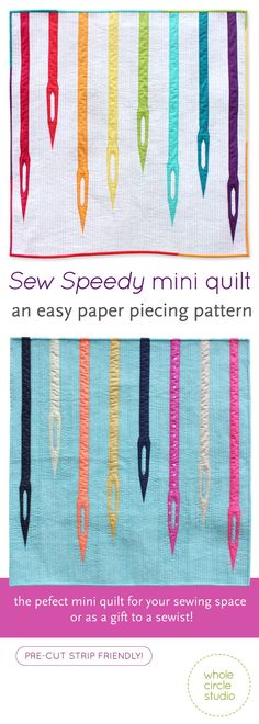 Sew Speedy is a graphic wallhanging / mini quilt that uses foundation paper piecing techniques. Make additional blocks to make a larger quilt (layout ideas are provided). paper piecing, foundation paper piecing, fpp, mini quilt, modern, quilt, sewist, sewing, studio, jelly roll, pre-cut strip, needles, sewing machine, wall hanging, colorful, gift