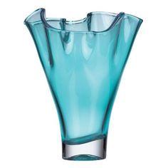 "Organics Ruffle Turquoise Crystal 12"" Vase by Lenox"