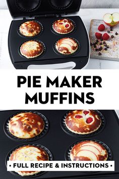 Cooked in a Kmart pie maker so they're ready in 20 minutes, this one simple muffin batter can be used to make 4 different types of muffins: raspberry, choc chip, apple and fairy bread. Milk Recipes, Muffin Recipes, Sweet Recipes, Salted Caramel Fudge, Salted Caramels, Breville Pie Maker, Mini Pies, Easy Meal Prep, Fish Dishes