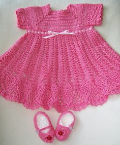 Crochet Baby Dress Pink Baby Dress Handmade by americanmadecrochet, $45.00