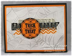 A La Cards: Halloween card featuring the Tags 4 You stamp set and Witches Brew Designer Washi Tape from Stampin' Up!