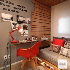 Trendy home office quarto marrom Ideas Home Office Bedroom, Home Office Decor, Bedroom Decor, Home Decor, Kids Room Design, Bed Design, House Design, Small Apartment Organization, Study Rooms