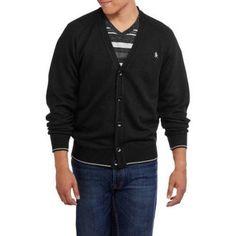 Big Men's Cardigan Sweater, Size: 2XL, Black