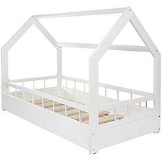 Lit maison cabane 2 en 1 avec barreaux, chambre d'enfant, bois naturel 160x80 cm
