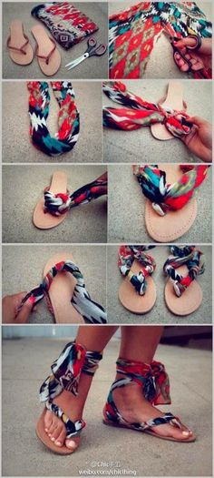 DIY sleeper transformation. Awesome idea if you have a spare pair of sleepers and useless piece of colorful clothes.